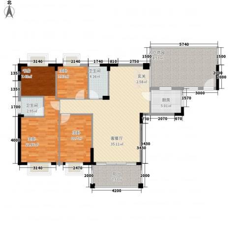 四洲城市经典3室1厅2卫1厨137.00㎡户型图