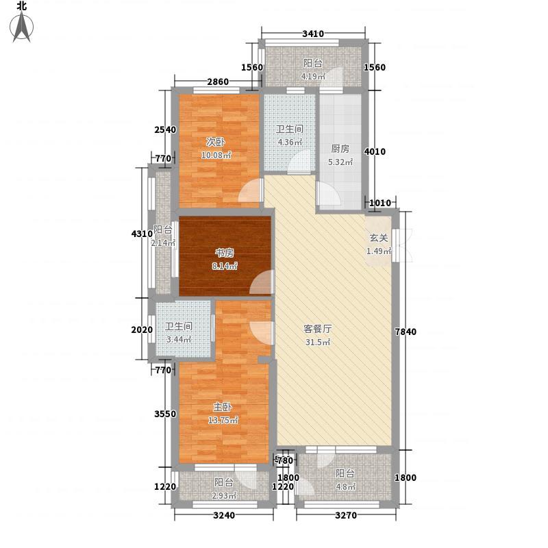 福荣园13.00㎡1#A户型3室2厅2卫1厨