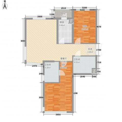 公园大道2室1厅2卫1厨124.00㎡户型图