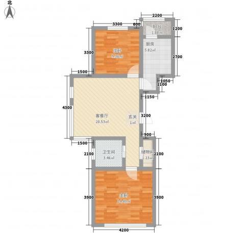 北方尚品2室1厅1卫1厨56.78㎡户型图