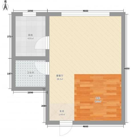 如意花园1厅1卫1厨35.86㎡户型图