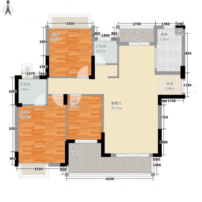 加州香山美树121.00㎡高层23-30号楼D3户型3室2厅2卫1厨