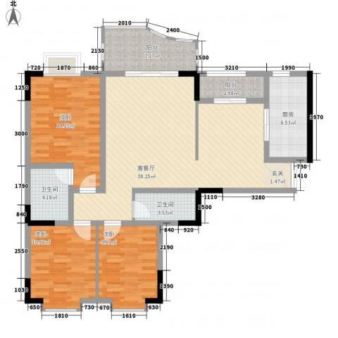 云湖花园3室1厅2卫1厨140.00㎡户型图