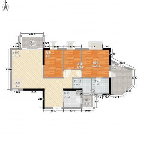 世纪云顶雅苑3室1厅2卫1厨115.00㎡户型图