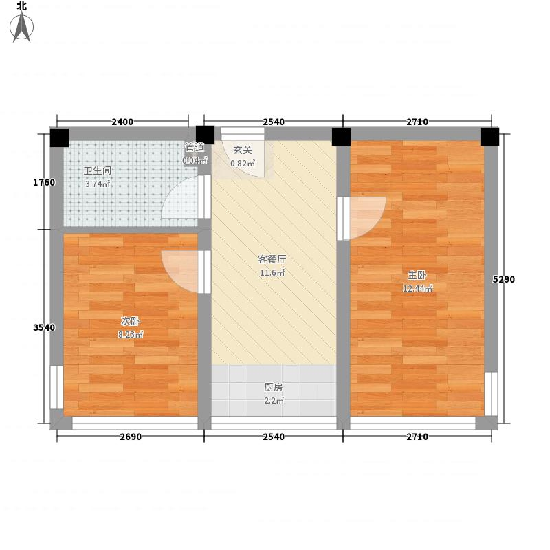 博维龙廷53.00㎡B户型2室1厅1卫