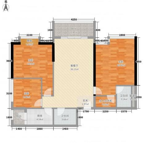 南峰国际二期3室1厅2卫1厨137.00㎡户型图