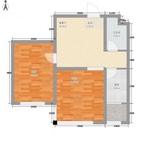 北方尚品2室1厅1卫1厨77.00㎡户型图