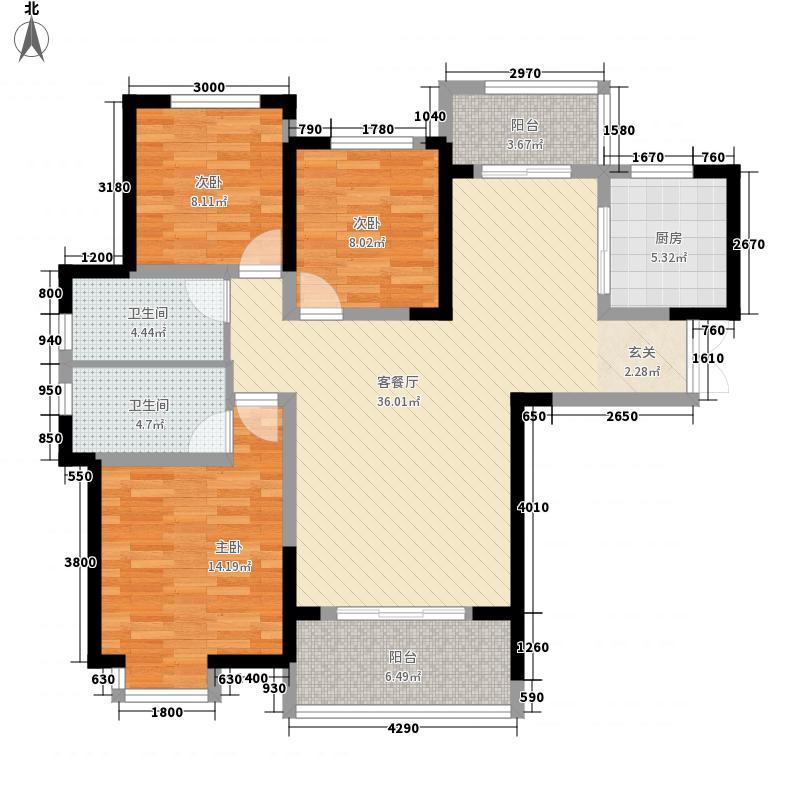 国宾壹号二期121.30㎡A户型3室2厅1卫1厨