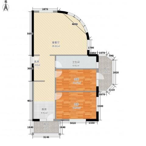金博花园2室1厅1卫0厨123.00㎡户型图