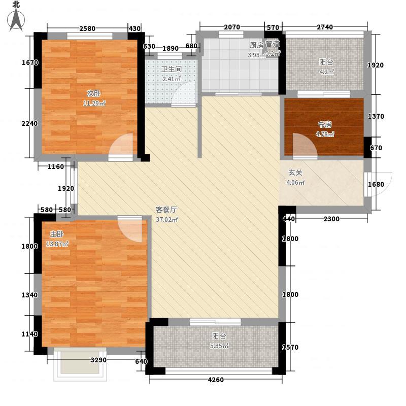 联投梧桐郡114.00㎡Y1、Y2、Y3栋G1户型3室2厅1卫1厨