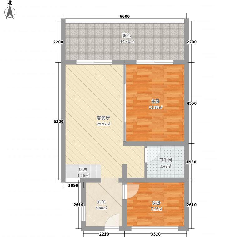 龙栖湾・新半岛6.00㎡A户型1室1厅1卫1厨