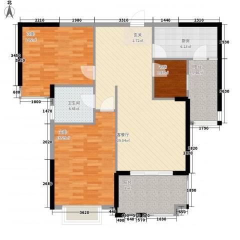 金鼎名城3室1厅1卫1厨98.00㎡户型图