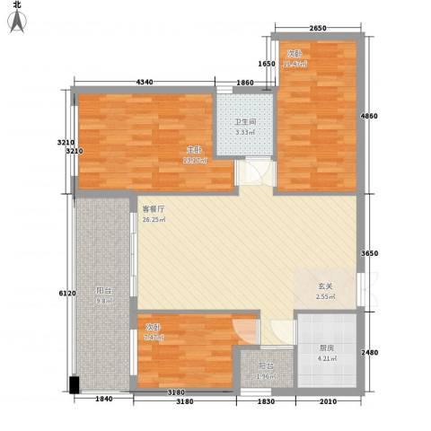 名汇城市花园3室1厅1卫1厨87.00㎡户型图