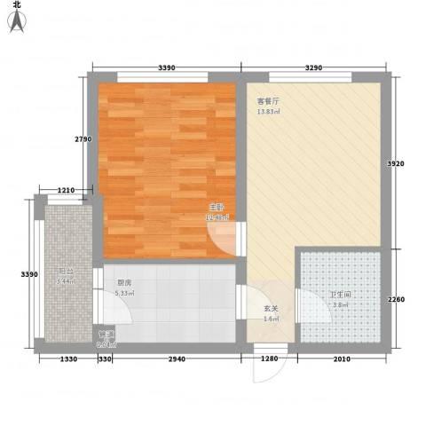 英伦名邸1室1厅1卫1厨57.00㎡户型图