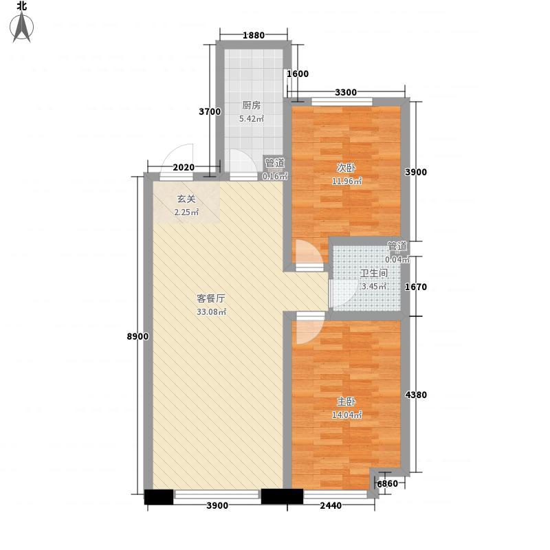 潭泽东南明珠7.68㎡5#02户型2室2厅1卫1厨