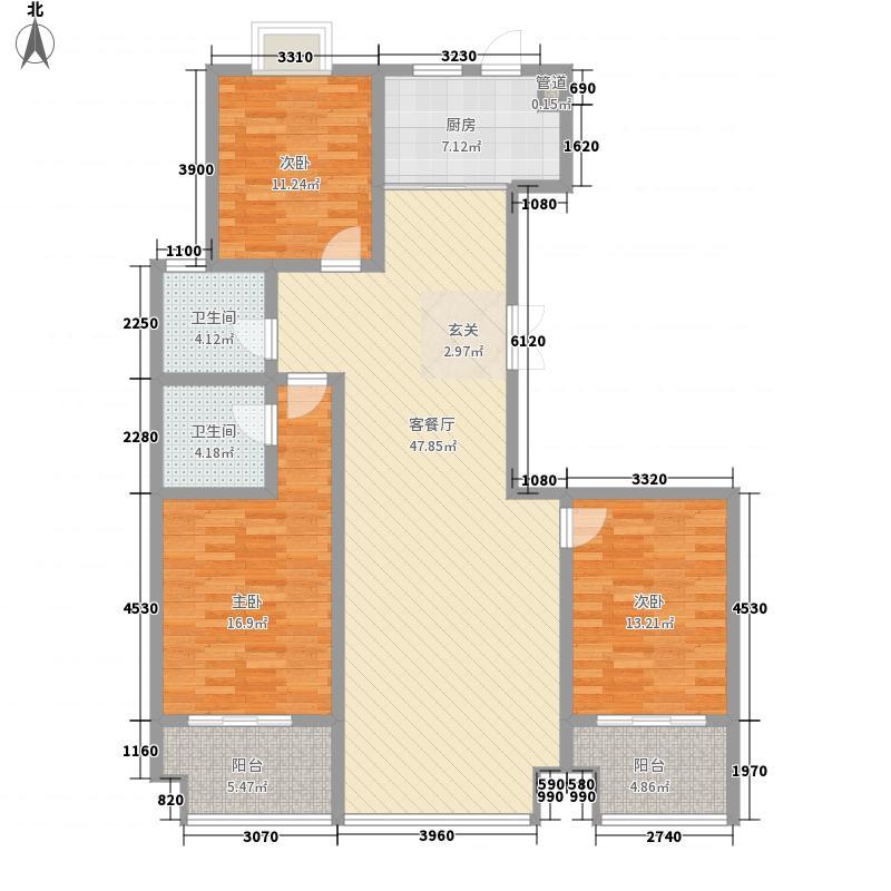 金领世家164.38㎡12#1单元02户型3室2厅2卫1厨