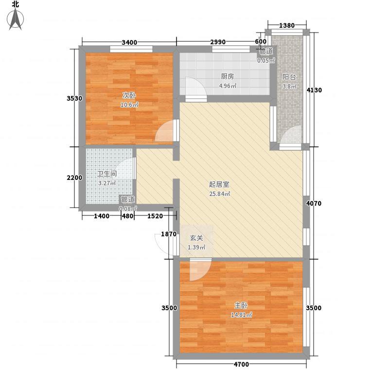 曹妃甸国际生态城万年丽海花城J2户型2室2厅1卫1厨
