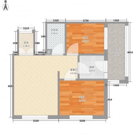 英伦名邸2室1厅1卫1厨56.00㎡户型图