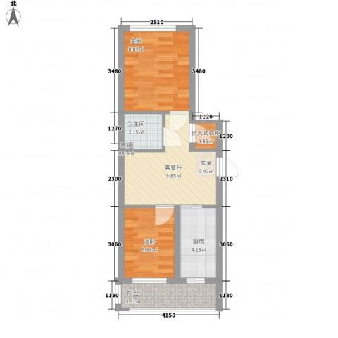英伦名邸2室1厅1卫1厨54.00㎡户型图