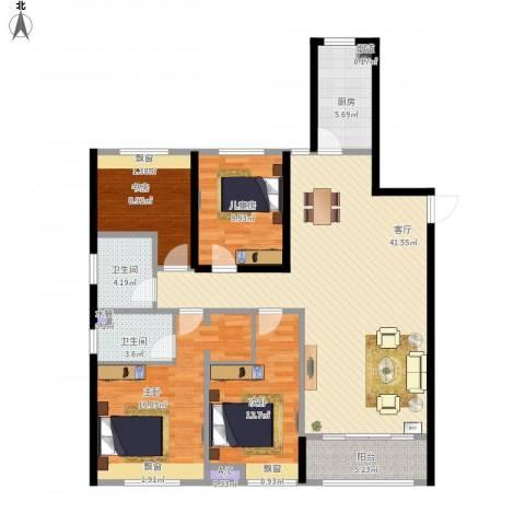 佳兆业・水岸新都4室1厅2卫1厨155.00㎡户型图