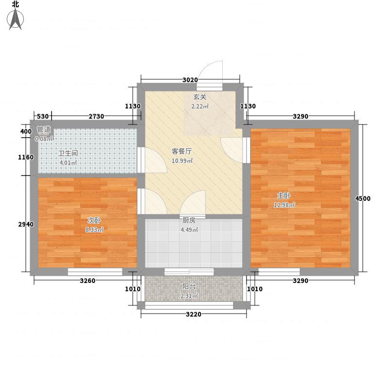 玉龙水岸6.00㎡标准层G户型2室1厅1卫1厨