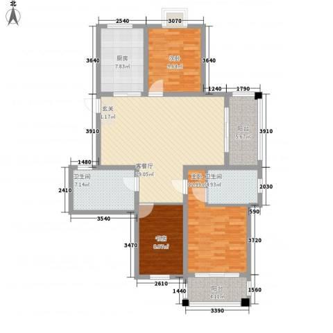 国际丽晶城3室1厅2卫1厨130.00㎡户型图