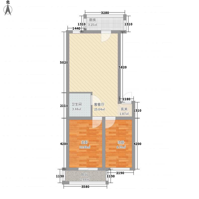 玉龙水岸7.50㎡执玉・家标准层E户型2室1厅1卫1厨