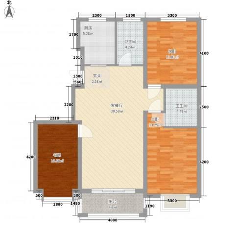 恒祥・龙泽城3室1厅2卫1厨121.00㎡户型图