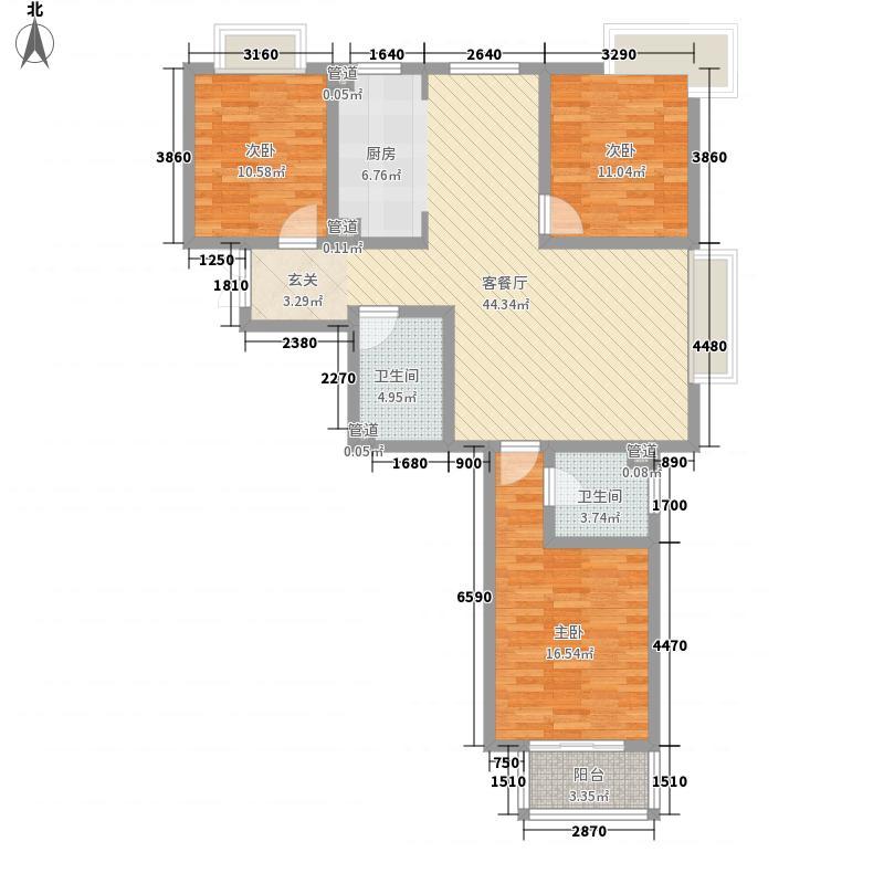 金领世家137.63㎡2#01户型3室2厅2卫1厨