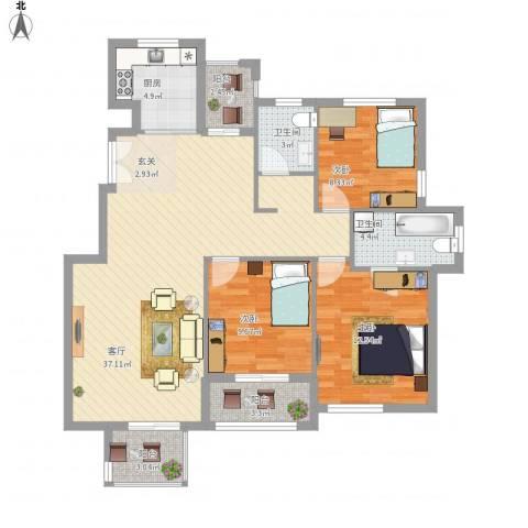 浅水湾蔚蓝水岸3室1厅2卫1厨125.00㎡户型图