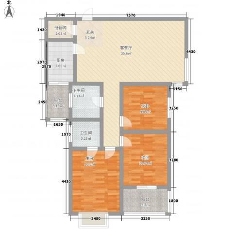 紫郡长安3室1厅2卫1厨132.00㎡户型图