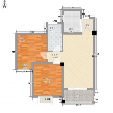 国际丽晶城2室1厅1卫1厨89.00㎡户型图