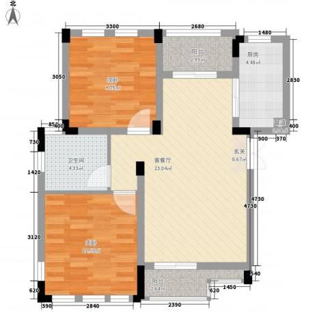 海昌加勒比2室1厅1卫1厨68.00㎡户型图