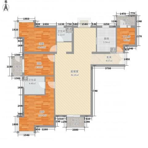 美景花园3室0厅2卫1厨144.00㎡户型图