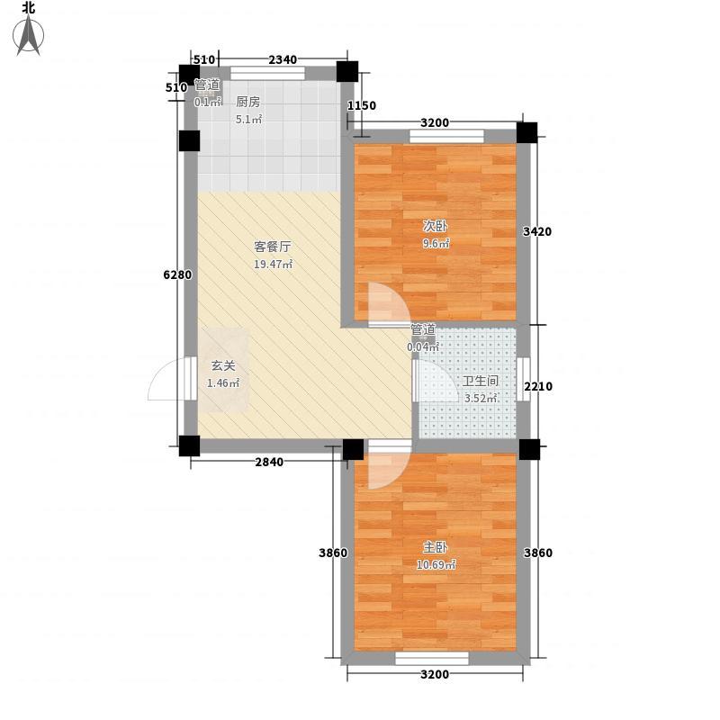 博维龙廷62.00㎡A户型2室1厅1卫