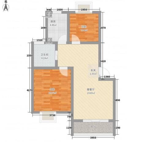 隆基天地广场2室1厅1卫1厨85.00㎡户型图