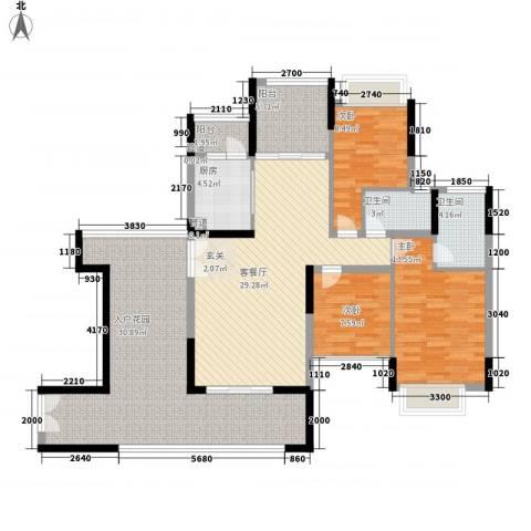 龙翔苑3室1厅2卫1厨157.00㎡户型图