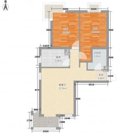 夏威夷南岸二期2室1厅1卫1厨87.00㎡户型图