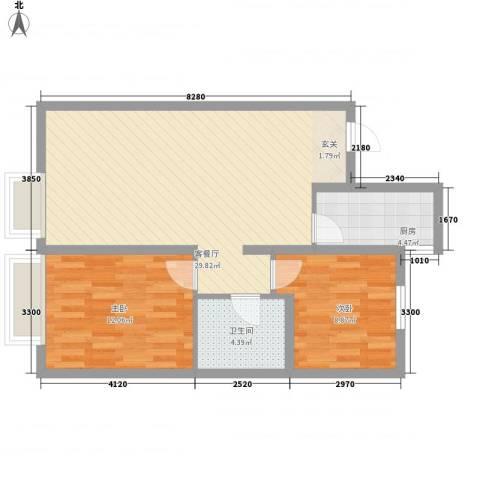 万科城・明2室1厅1卫1厨84.00㎡户型图