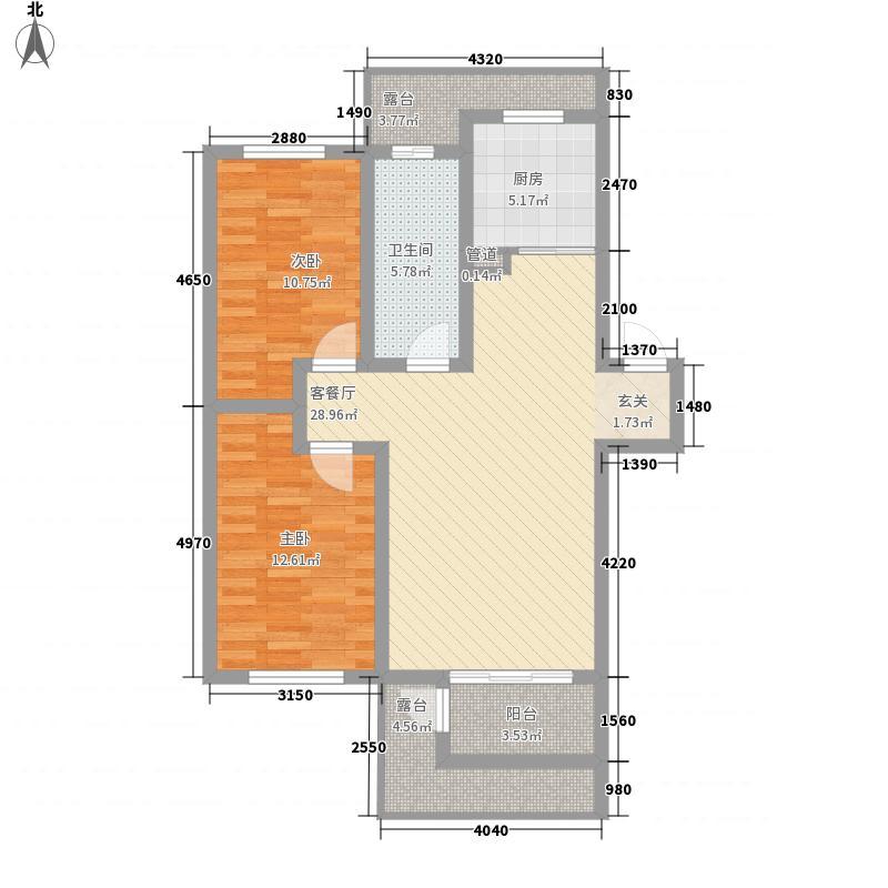 水墨丹青砚池6.40㎡一组团1#2#楼三层B户型2室1厅1卫1厨