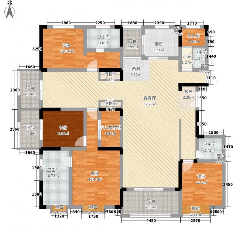 建海绿荫半岛235.60㎡洋房E1户型5室6厅4卫2厨