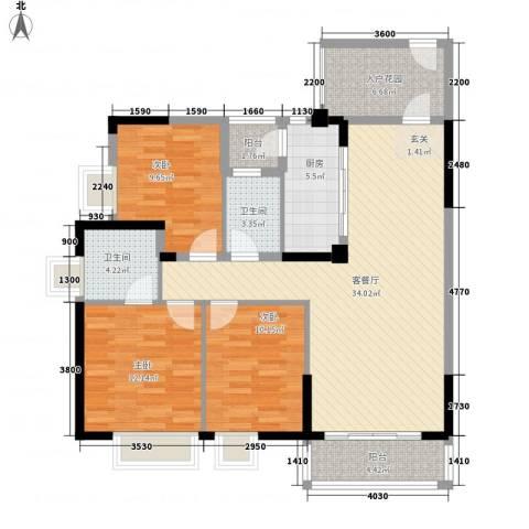 天林湖花园3室1厅2卫1厨132.00㎡户型图