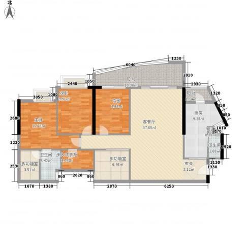 中顺领御公馆3室1厅2卫1厨156.00㎡户型图