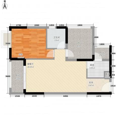 卓越东部蔚蓝海岸1室1厅1卫1厨73.00㎡户型图
