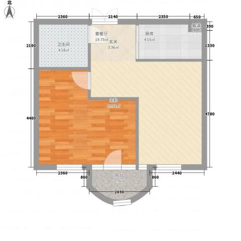 德泰岭秀逸城1室1厅1卫1厨61.00㎡户型图