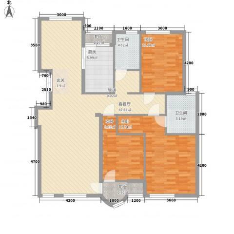 德泰岭秀逸城3室1厅2卫1厨134.00㎡户型图