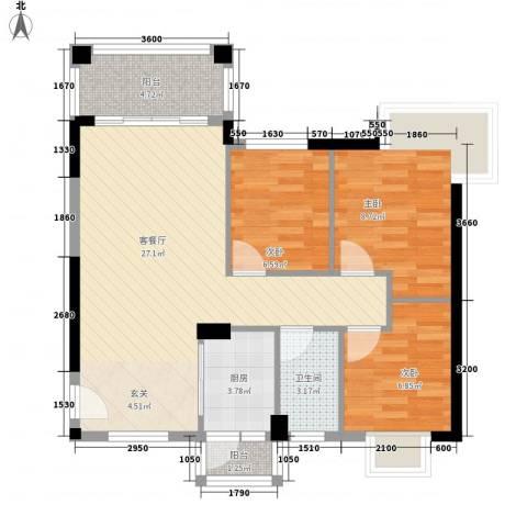 江南豪苑3室1厅1卫1厨88.00㎡户型图
