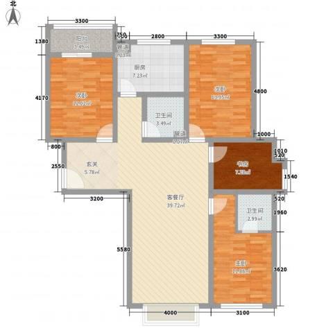 银湖柳苑4室1厅2卫1厨147.00㎡户型图