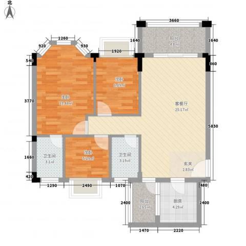 帝景蓝湾3室1厅2卫1厨68.71㎡户型图