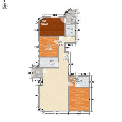 德泰岭秀逸城3室1厅2卫1厨137.00㎡户型图